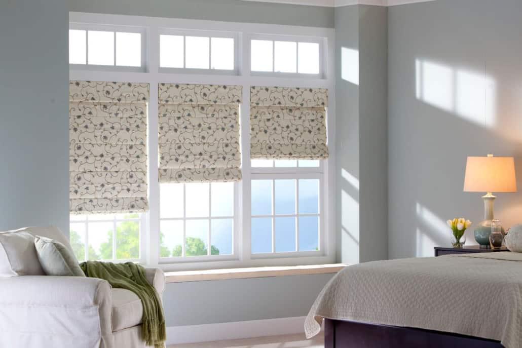 Horizons Fabric Roman Shades Batten Front Bedroom