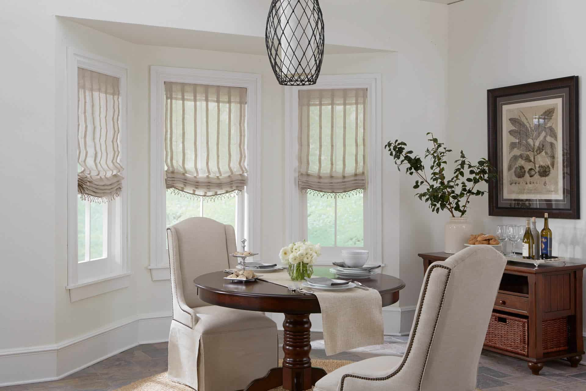 Horizons Relaxed Roman Shade Unlined Dining Room Ruffell Brown Window Covering Centre