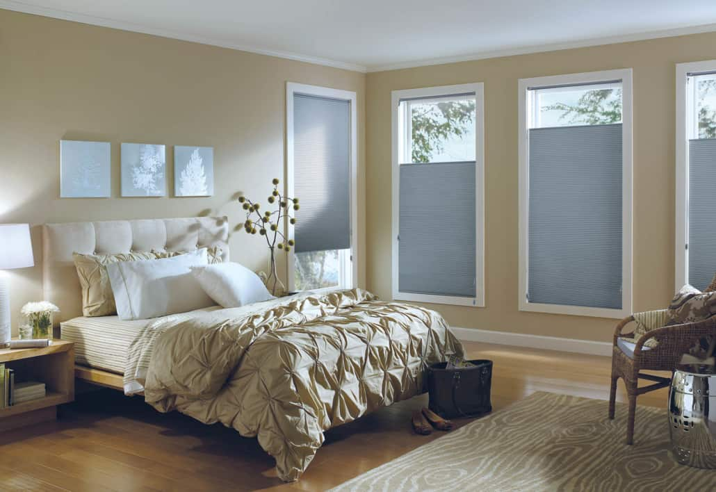 Hunter Douglas Applause Legends Blackout Honeycomb Shades Bedroom