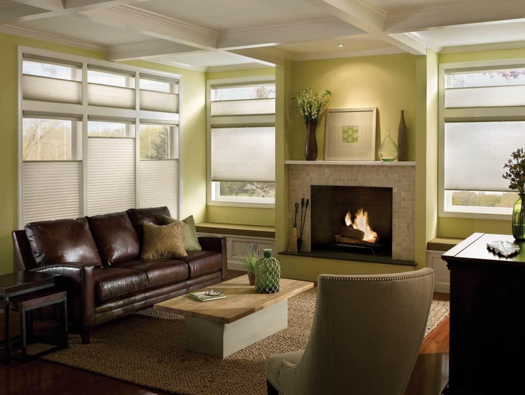 Hunter Douglas Applause Vintage LiteRise Honeycomb Shades Living Room