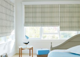 Hunter Douglas Design Studio Batten Front Roman Shades Bedroom
