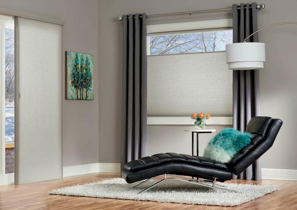 Hunter Douglas Duette Architella Recption Honeycomb Shades Living Room