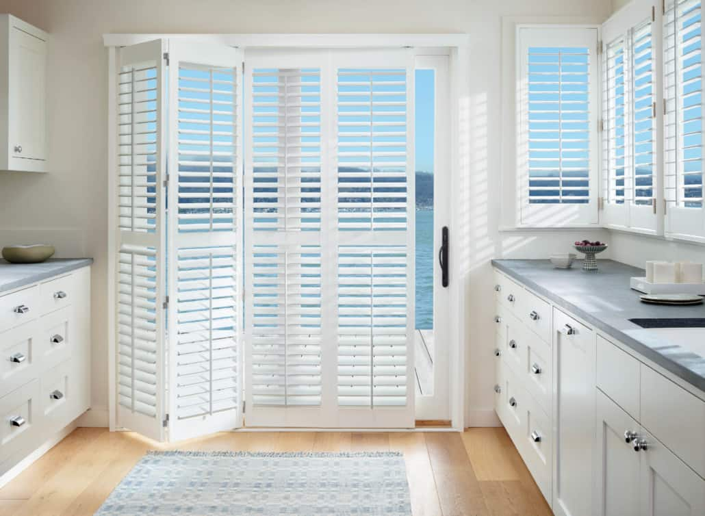 Hunter Douglas Palm Beach Shutters BiFold Track Kitchen