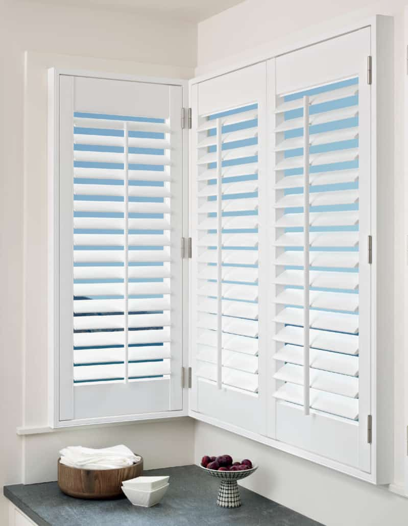 Hunter Douglas Palm Beach Shutters Corner Window Kitchen Detail