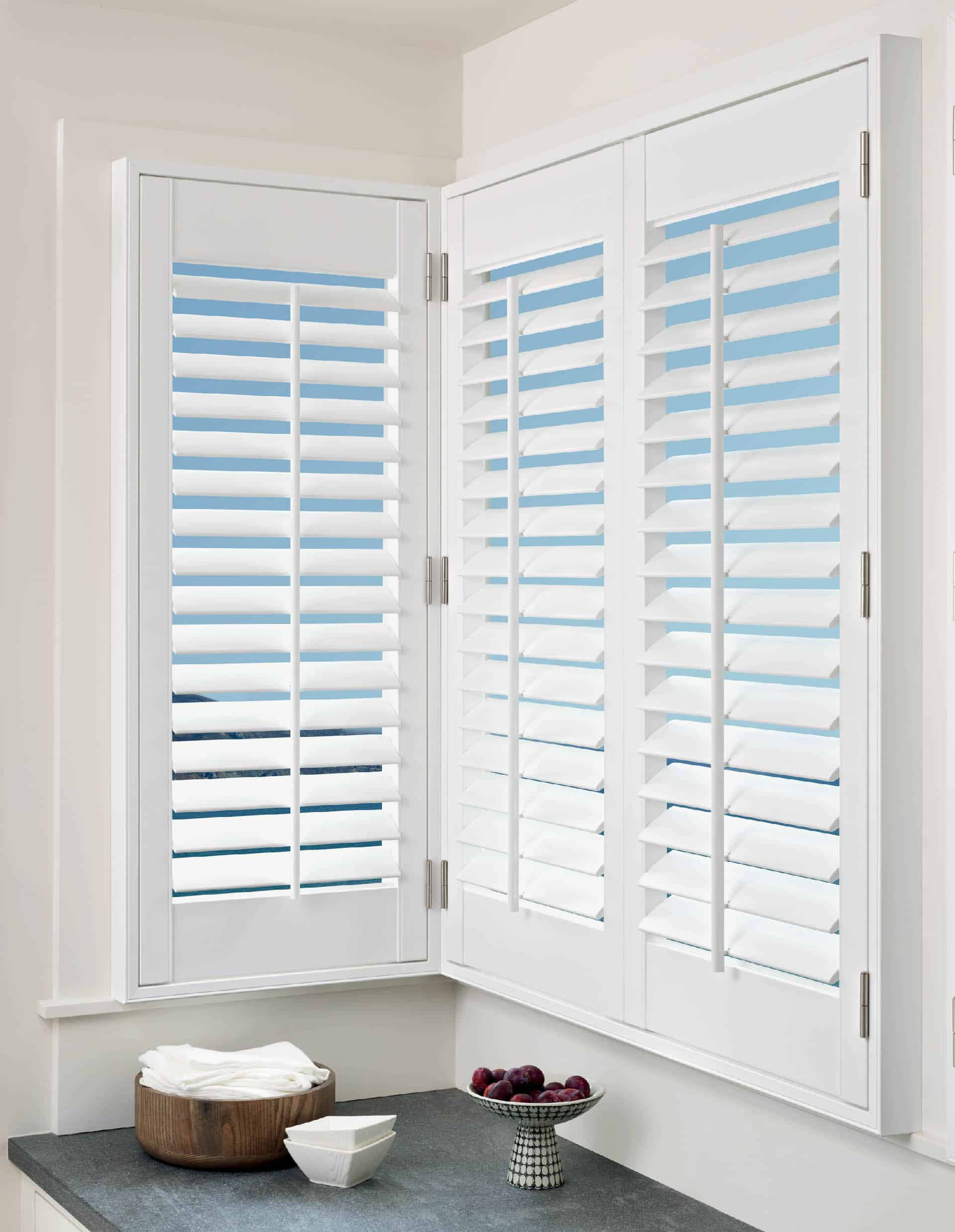 Hunter Douglas Palm Beach Shutters Corner Window Kitchen
