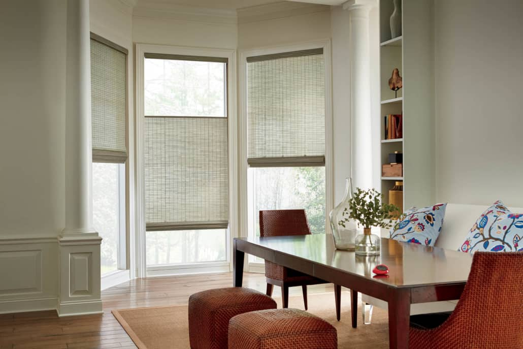 Hunter Douglas Provenance Woven Wood PowerView Shades Dining Room