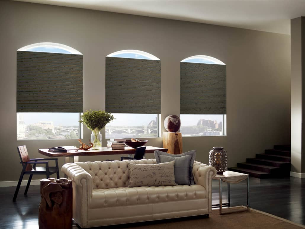 Hunter Douglas Provenance Woven Wood Shades Arched Windows Living Room
