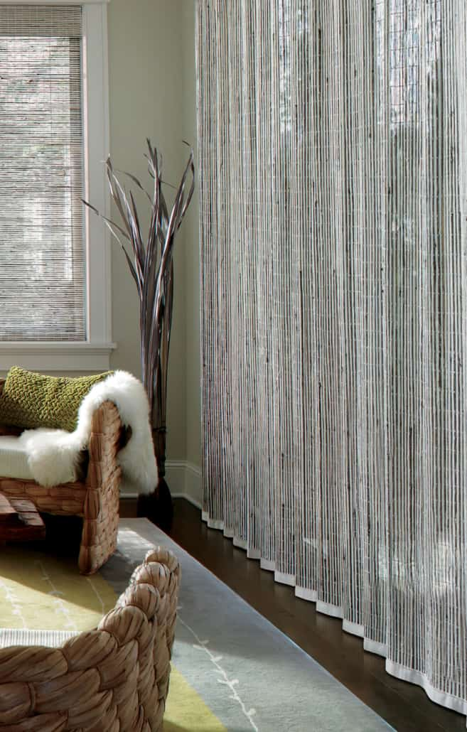 Hunter Douglas Provenance Woven Wood Shades and Vertical Drape Fabric Detail