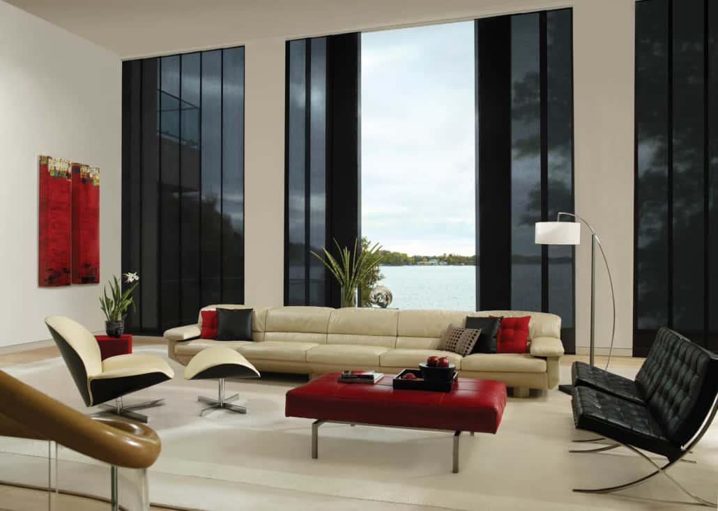 Hunter Douglas Skyline Gliding Window Panels Cord Control Neptune Living Room