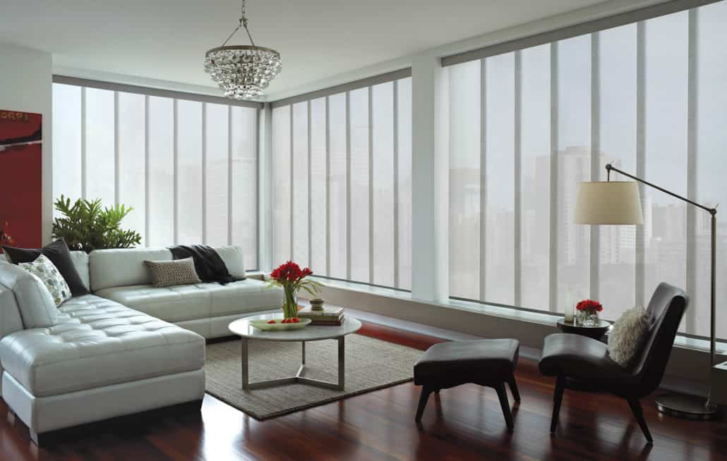 Hunter Douglas Skyline Gliding Window Panels PowerView Empire Living Room