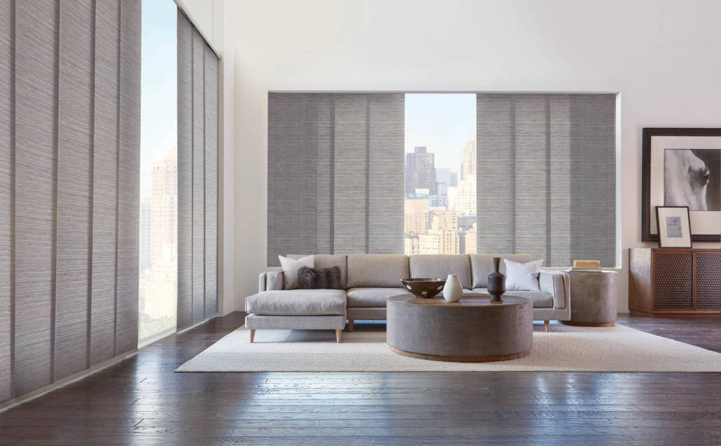 Hunter Douglas Skyline Gliding Window Panels PowerView Maya Living Room