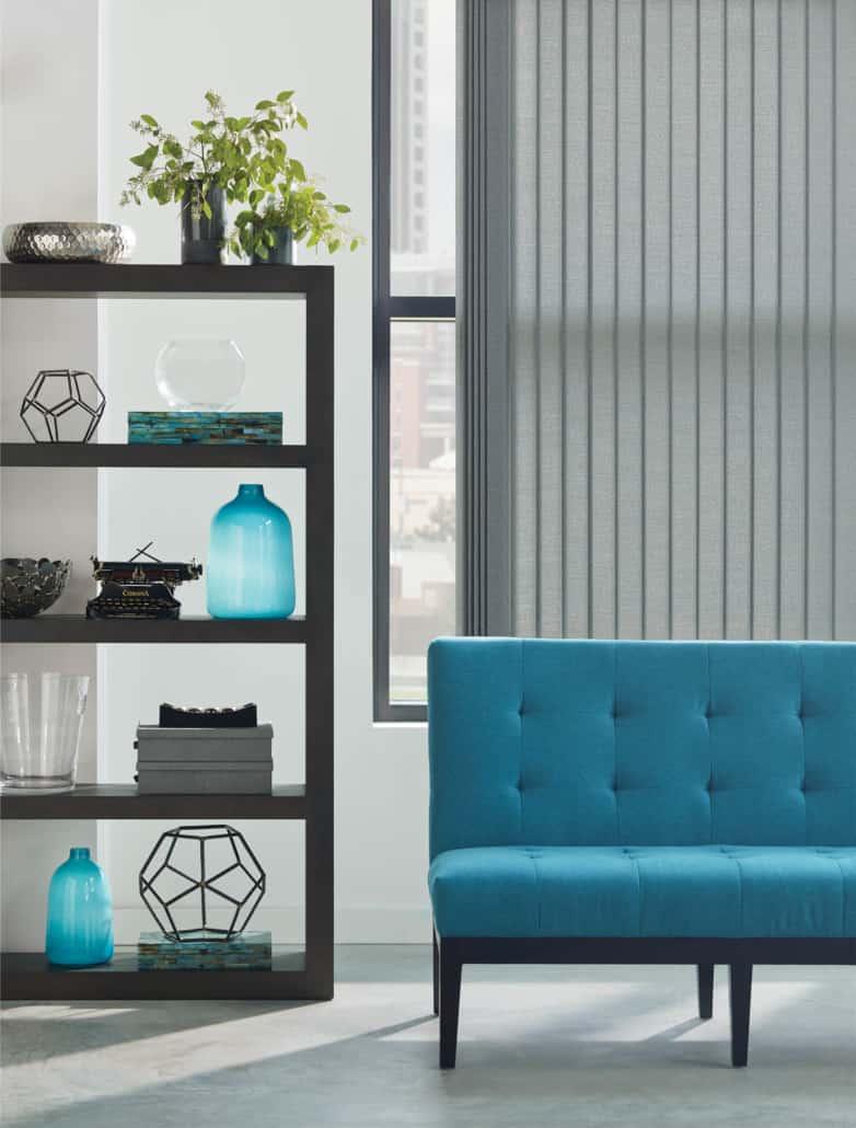 Hunter Douglas Somner Vertical Blind PermaTilt Abbott Living Room