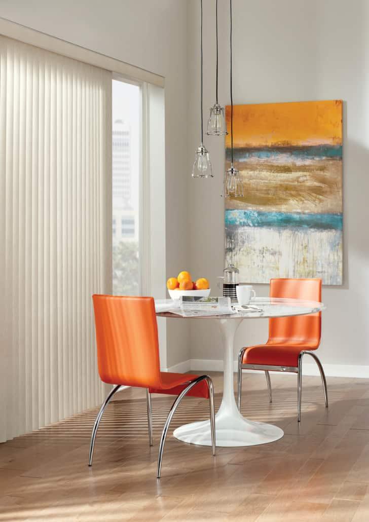 Hunter Douglas Somner Vertical Blind PermaTilt Brittmore Dining Room