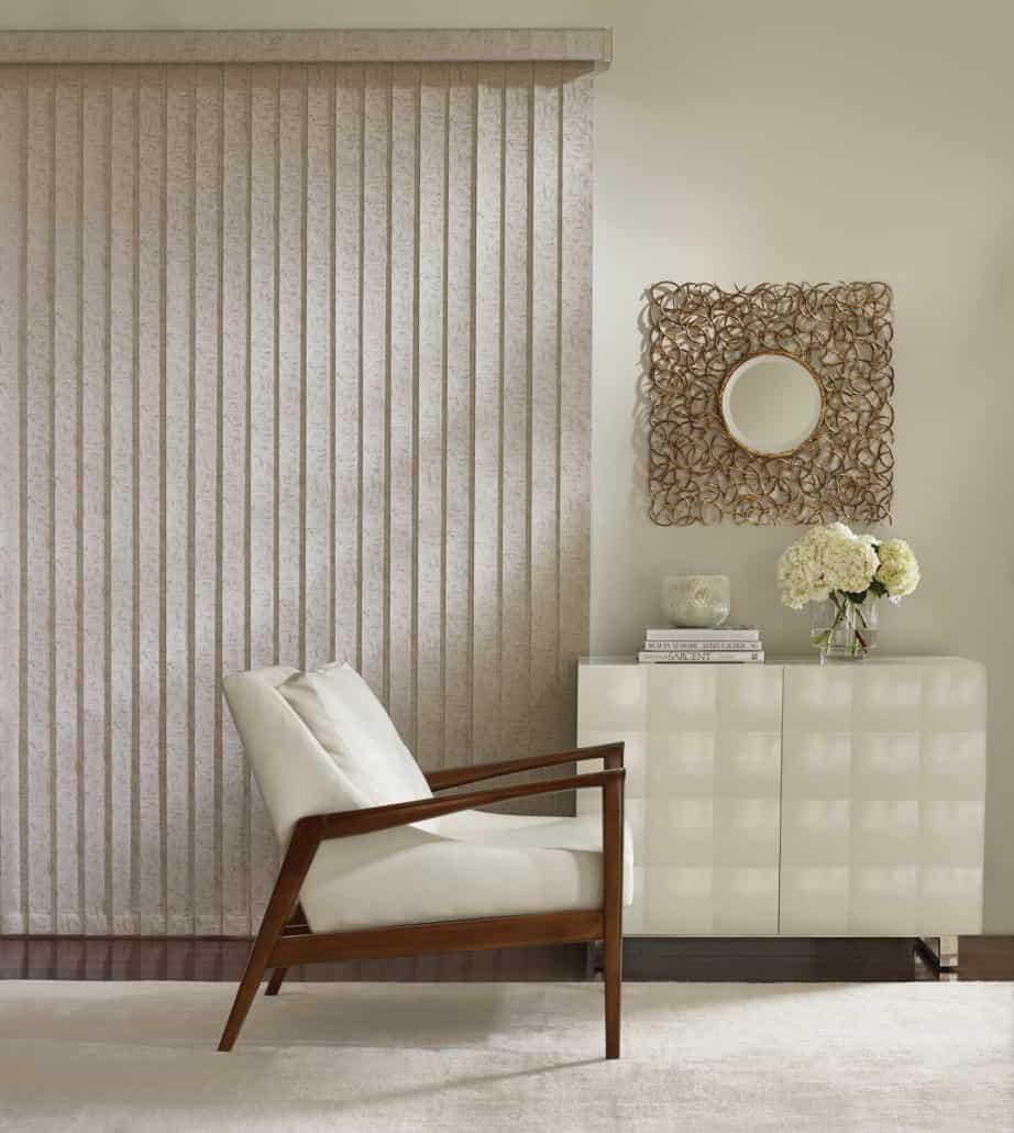 Hunter Douglas Somner Vertical Blinds PermaTilt Easton Living Room