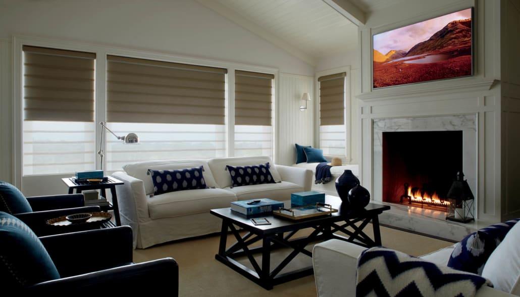 Hunter Douglas Vignette Duolite PowerView Leela Living Room Half Lowered