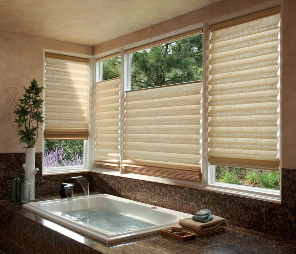 Hunter Douglas Vignette PowerView Newport Linen Roman Shades Bathroom