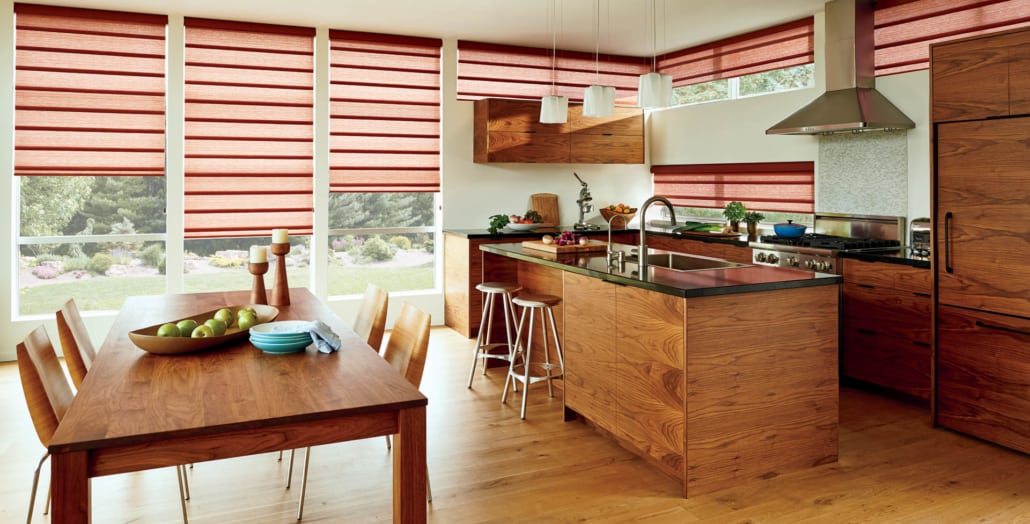 Hunter Douglas Vignette UltraGlide Jewelstone Carnelian Roman Shades Kitchen