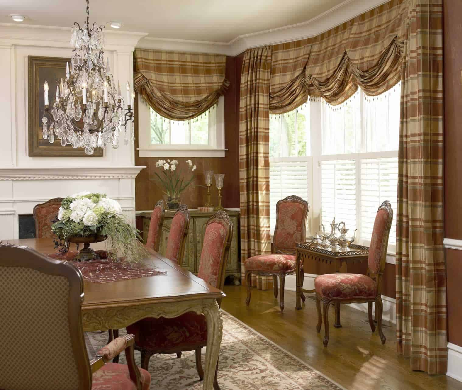 Finish dressing your windows ruffell brown window fashions for Dining room windows