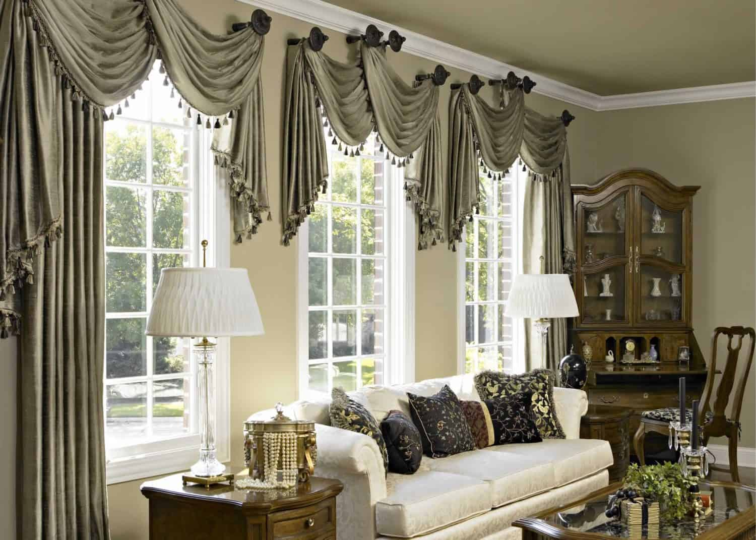 Window Treatment Ideas and The curtain color ideas for living room windows
