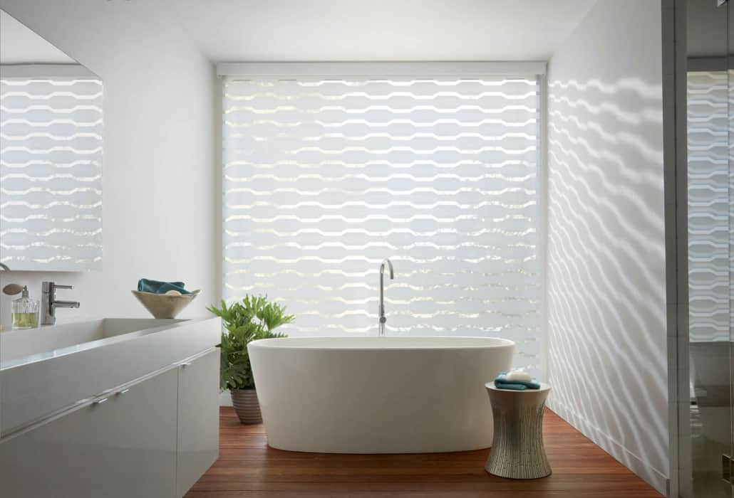 Hunter Douglas Designer Banded Shade Geometric Bathroom