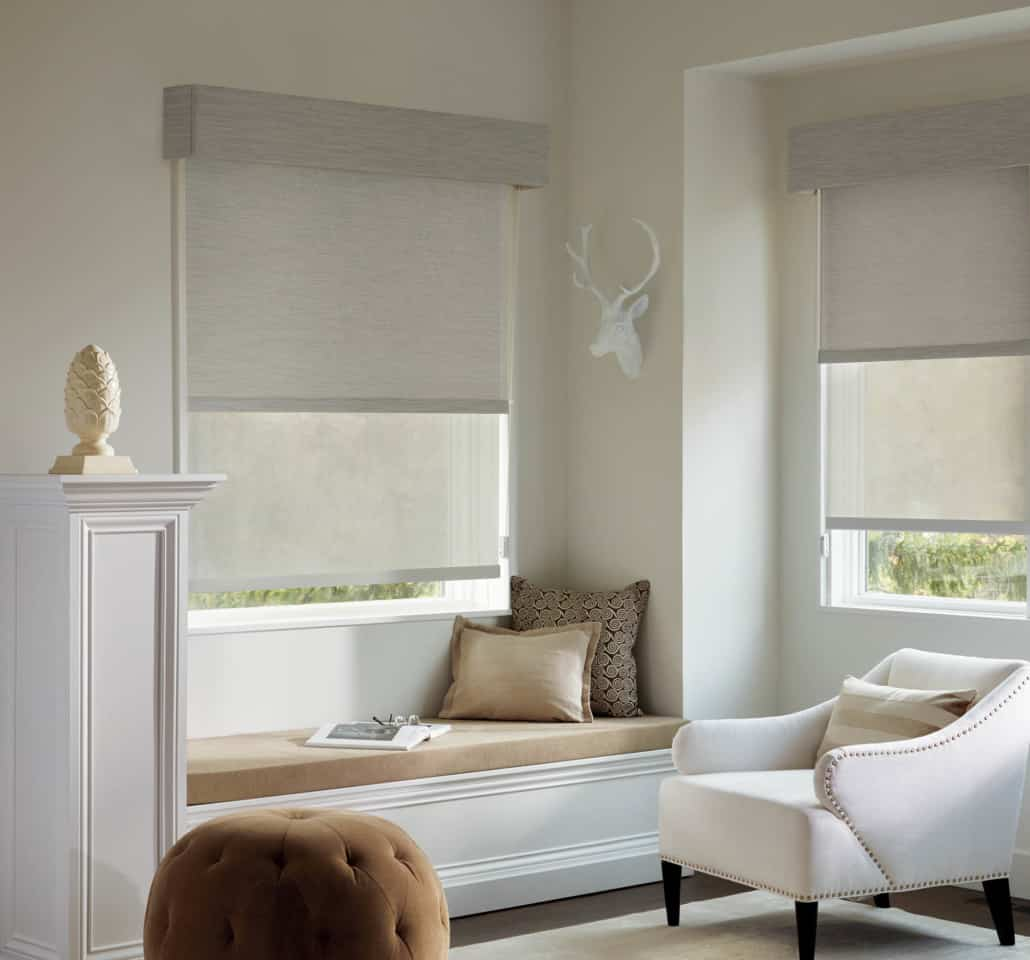 Hunter Douglas Designer Roller Shades Dual Shade with Valance Bedroom