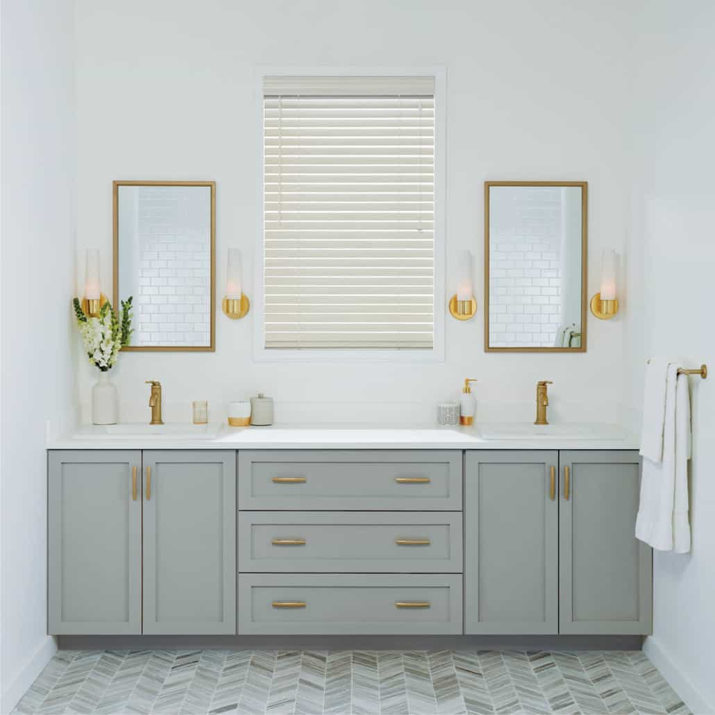 Hunter Douglas Everwood Faux Composite Alternative Wood Blind Bathroom