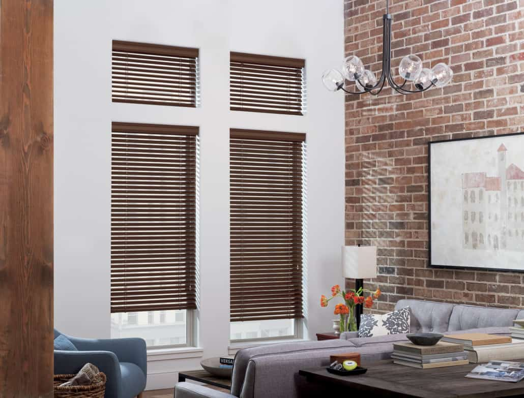 Hunter Douglas Modern Precious Metals Aluminum Blinds PowerView Living Room