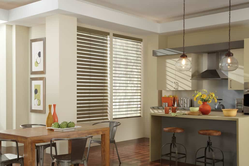Hunter Douglas Modern Precious Metals MagnaView Aluminum Blinds Kitchen