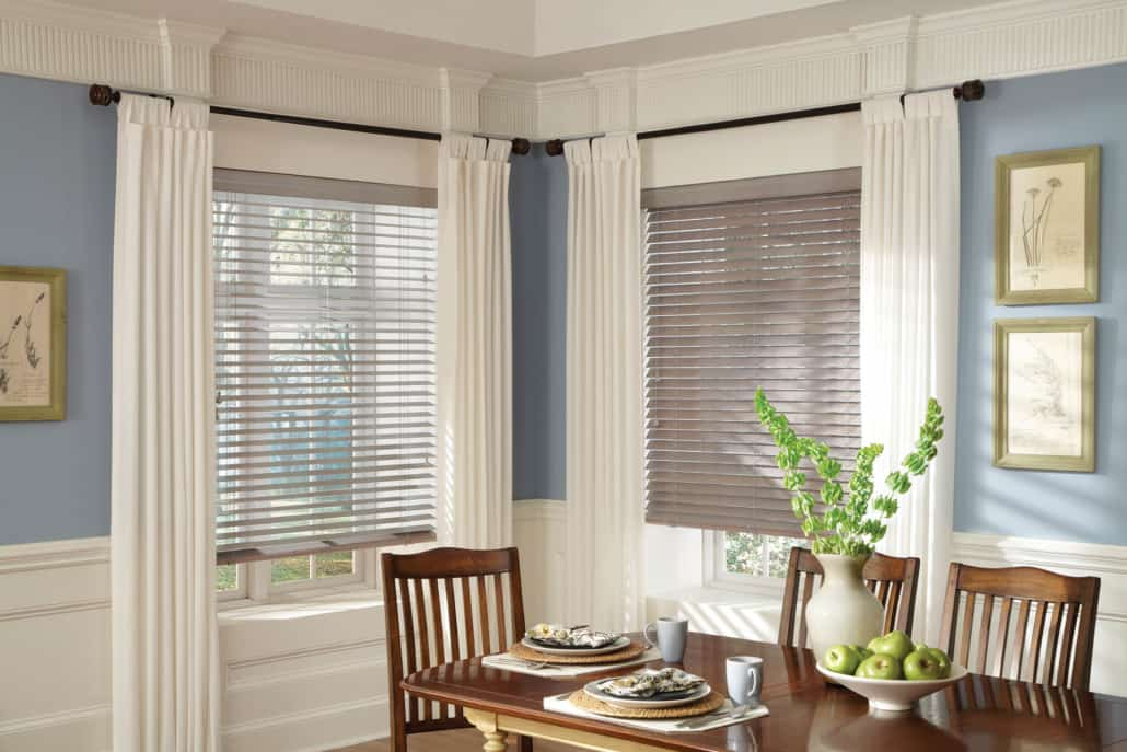 Hunter Douglas Parkland Wood Blinds Standard Cordlock Basswood Dining Room