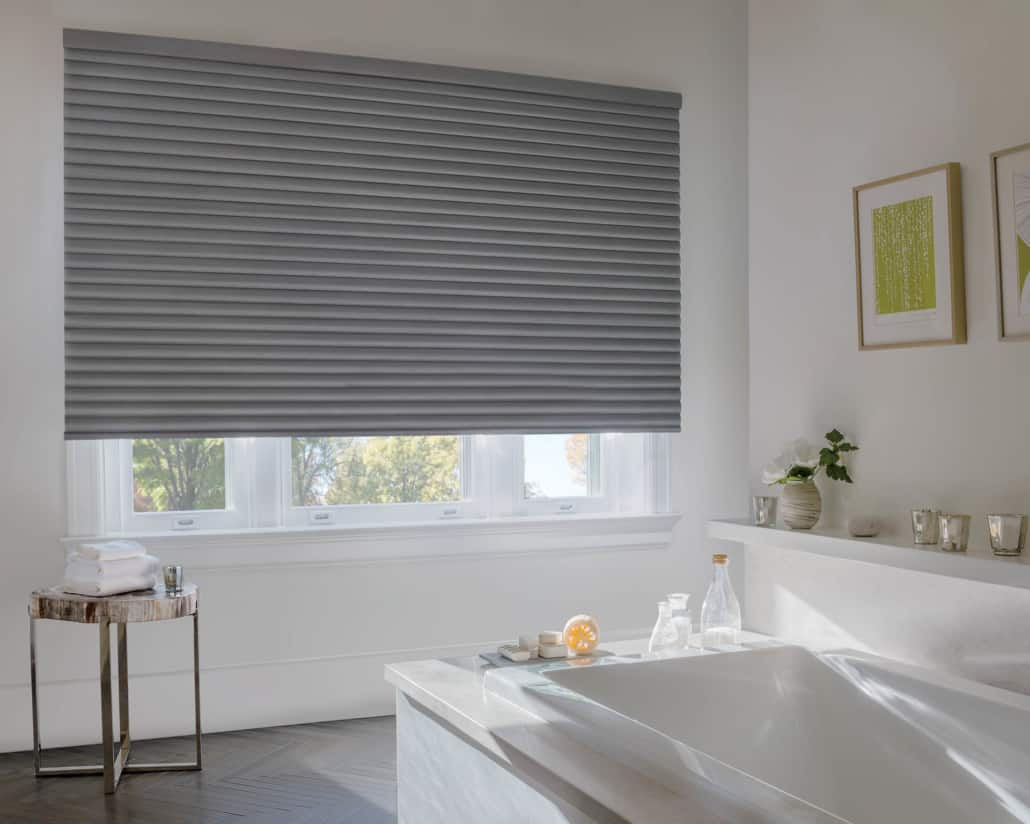 Hunter Douglas Sonnette LiteRise Elan Metallic Cellular Roller Shade Bathroom