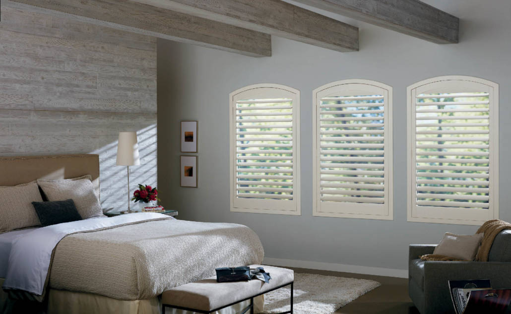 Hunter Douglas New Style Hybrid Shutters Arch Bedroom