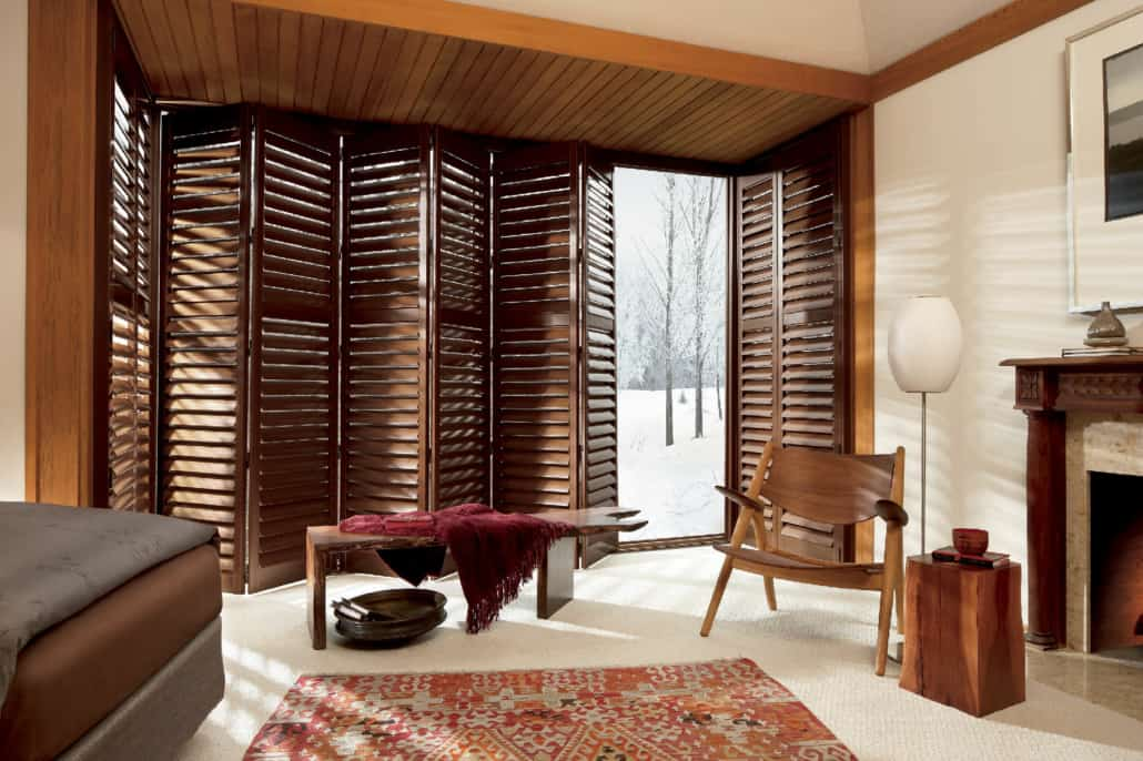 Hunter Douglas NewStyle Hybrid Shutters Bifold Track Bedroom