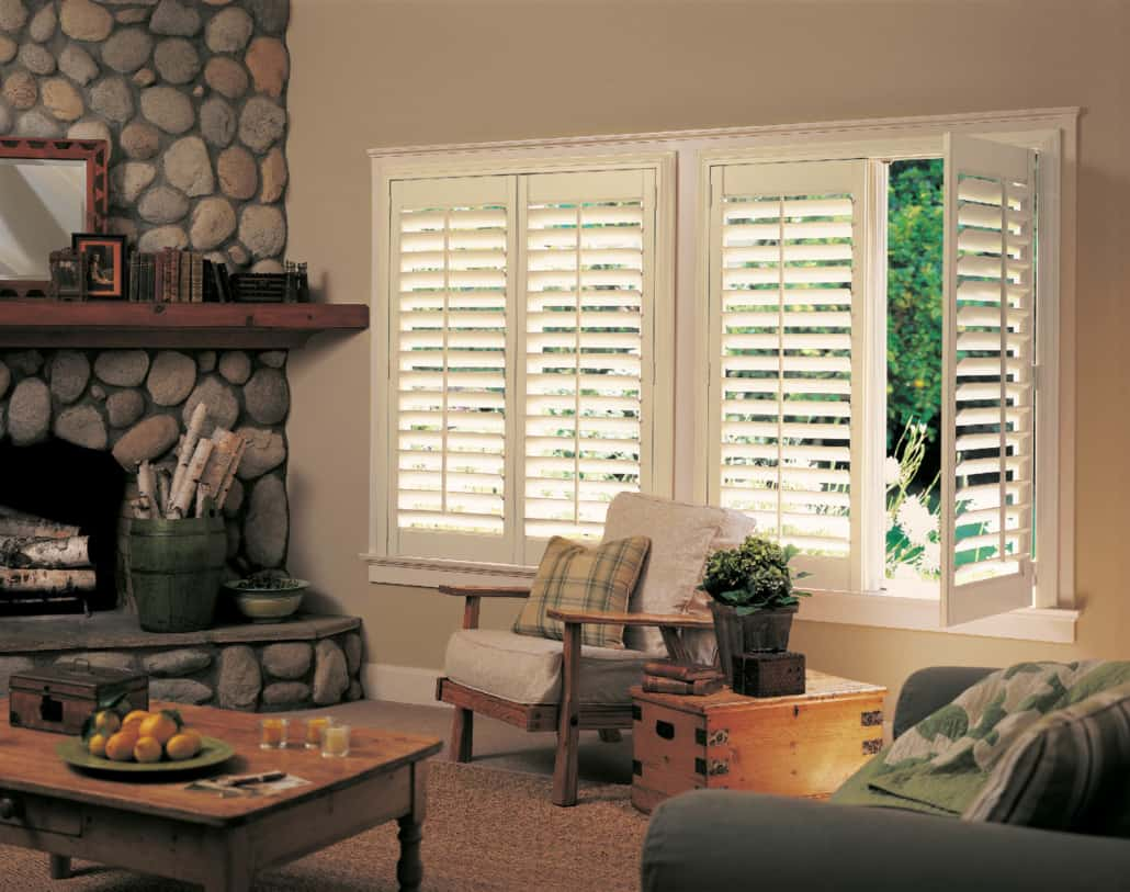 Hunter Douglas NewStyle Hybrid Shutters Front Tilt Bar Living Room