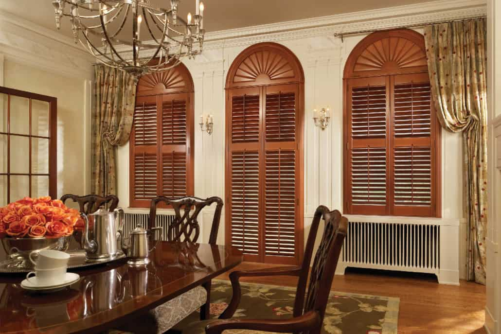 Hunter Douglas NewStyle Hybrid Shutters Front Tilt Bar Specialty Arches Dining Room