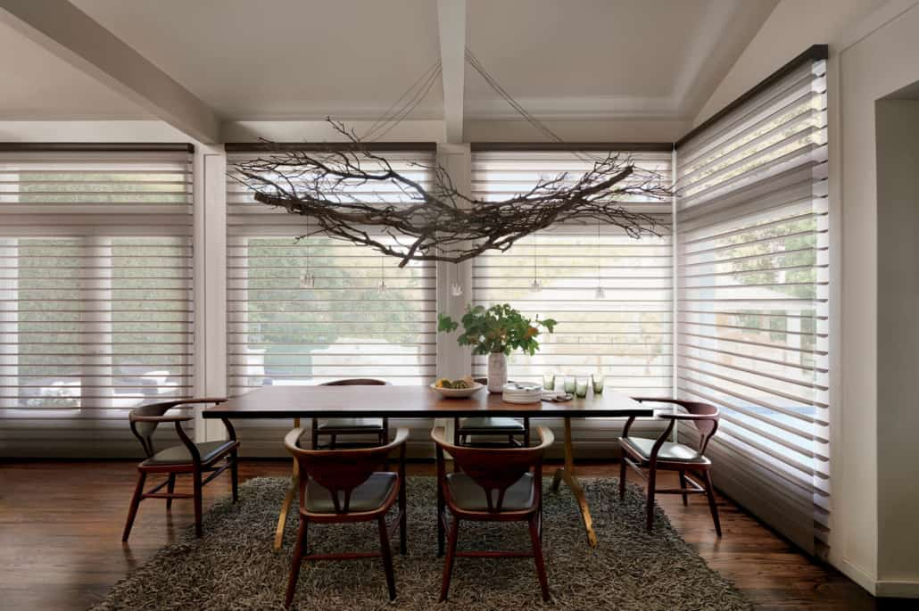 Hunter Douglas Silhouette ClearView Tapestry Sheer Shadings Dining Room