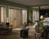 Wood blinds can be used on patio and French doors.