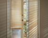 Hunter Douglas Parkland wood blinds can even be installed on French Doors.