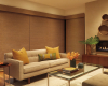 This modern living room design works well with Designer Roller shades. They look like a colour blocked wall.