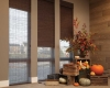 Hunter Douglas Provenance Woven wood shades are available in a range of fabrics from sheer to opaque.
