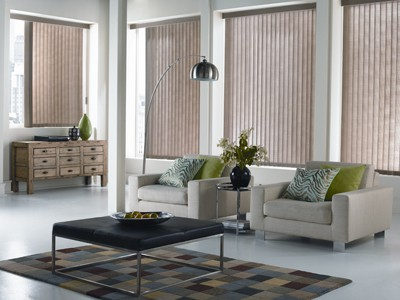 Vertical blinds offer many options for privacy and light control.