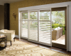 A Bypass Track system allows the Hunter Douglas Palm Beach polysatin shutters to slide past each other.