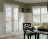 Hunter Douglas Palm Beach polysatin shutters can be installed on French doors allowing you to use the same window covering on your windows and doors.