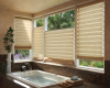 Top down bottom up shades offer many privacy options in a bathroom setting.