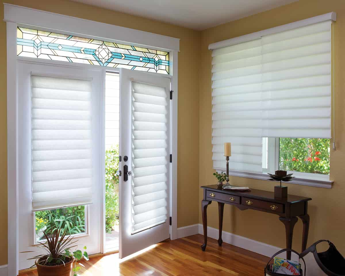 Vignette Roman Shades Can Be Mounted On French Doors So Your Whole Room Have The Hunter Douglas Modern