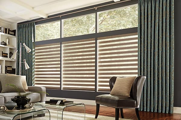 Layered shades are a unique concept that marries sheer fabric with stripes of opaque fabric.