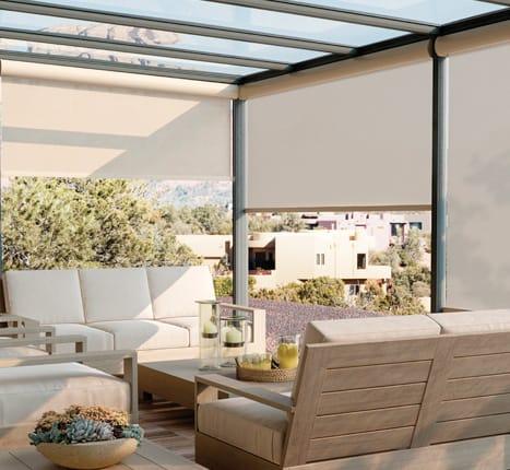 Exterior solar shades ruffell brown window fashions - Motorized exterior window shades ...