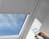 Motorized roller shades work very well in skylights.
