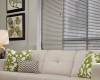 Venetian blinds add style to a contemporary room setting.