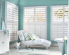 Vinyl or composite shutters are a great choice for rooms with humidity such as bathrooms and kitchens.