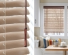 "The aluminum and wood elements of the Hunter Douglas 2"" Natural Elements horizontal window blinds work well in contemporary rooms."